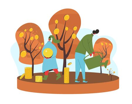 Investment concept. Minor shareholders getting money. Stock market  boom. Growth in equity prices. tiny people with crops of huge coins. Vector flat illustration. Иллюстрация