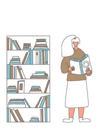Bookstore o library concept. Young woman with long hair reading a bestseller isolated on white background. Book lover standing near a bookcase and leafing through a novel. Vector color illustration.