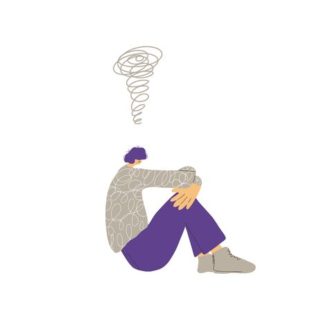 Mental disorder. Psychiatric isuess or psychological problems. Male character with bad mood. Vector flat cartoon illustration.