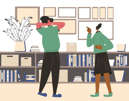 Family conflict. Pair during quarrel at home. Bad relationship between friends. Scared person putting his hands over his ears and woman yelling and pointing finger. Vector flat color illustration. Illustration