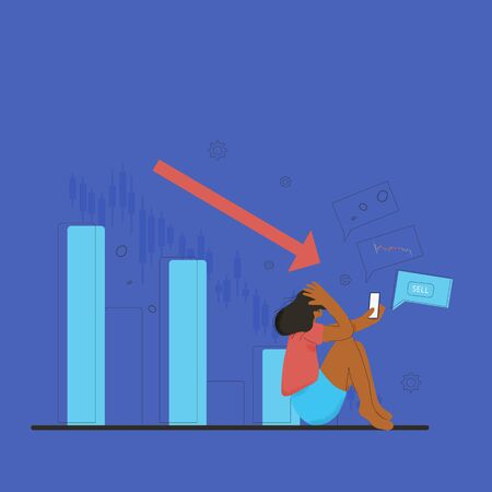 Minor shareholder. Stock market crash. Invest in the company's bonds fail. Young woman with phone grabbed her head surrounded investment symbols. Collapsing stock prices. Vector flat color illustration.