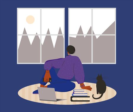 Woman sitting on the floor with laptop, books at home. Female person dressed in casual clothes online study. Social distancing and self-isolation. Vector flat illustration.