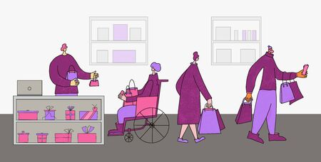 Gift store. Person in wheelchair byuing a present and going to pay with credit card. Two characters with shopping bags going to home. Sale concept. Vector illustration. Иллюстрация