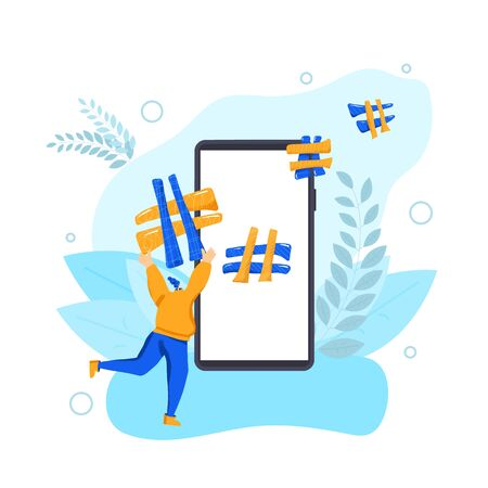 SMM concept. Hashtag. Young woman running with huge hash tag near a big phone screen. Social media data. Vector flat illustration.