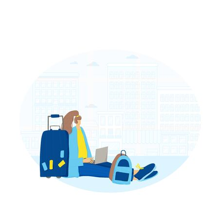 Travel. Female person sitting with laptop and working with her luggage. Young freelancer. Woman browsing on internet and waiting her flight. Vector flat illustration.