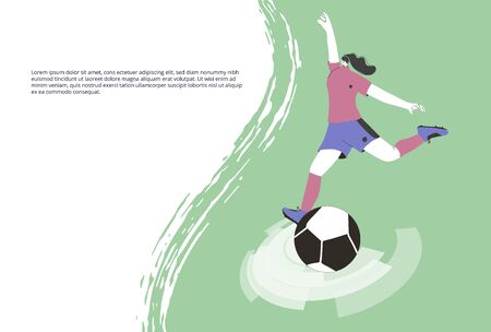 Soccer banner template. Young female player wearing in uniform kicking ball. Woman football athlette dressed in sportwear and boots. Vector flat character.
