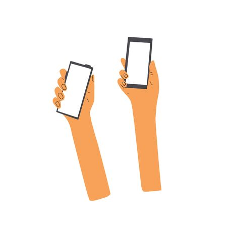 Human hands holding a phones. Smartphones with empty screen isolated on white background. Vector flat color illustration.