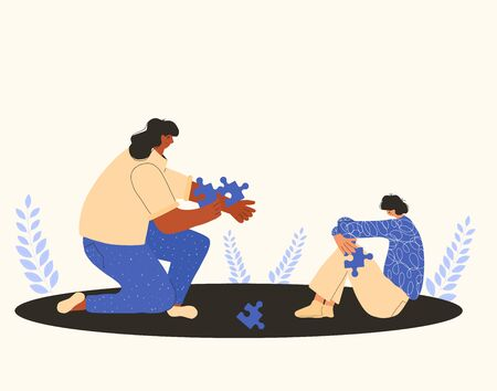 Psychotherapy communication. Character with autism sitting on the floor and adult person with puzzles piexes. Autistic spectrum. Boy sitting on the floor with bad mood. Vector flat illustration.