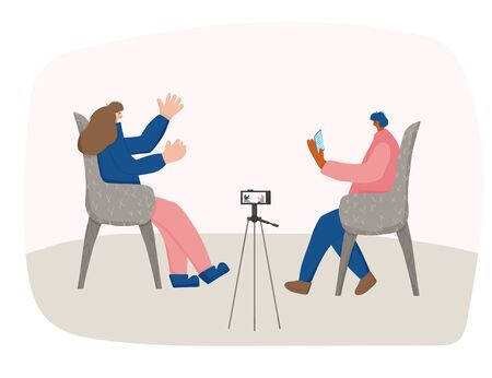 Interview concept. Two bloggers recording a content. Young persons sitting in the chair and having a conversationon camera. Man asking a questions and woman answering. Vector flat illustration.