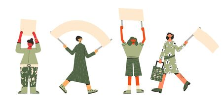 Protest. People in masks holding placards. Persons standing together with blank banners. Group of women with banners taking part in parade, picket, protests. Social activism. Vector illustration. Иллюстрация