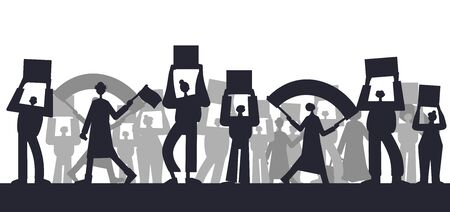 Protest. People holding placards. Persons standing together with blank banners. Group of men and women with banners taking part in parade, picket, protests. Social activism. Vector illustration.