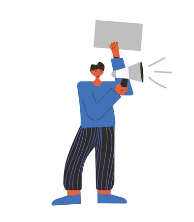 Protest. Young man standing and holding placard isolated on white background. Single picket. Male character taking part in parade, rally, processions, solitary picket. Vector illustration.