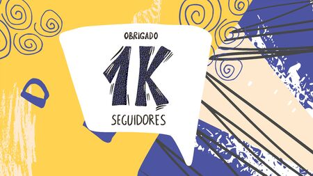 Obrigado 1000 seguidores. Thank you followers in portuguese. Celebration subscribers banner. 1k screen for public channel. Greeting card for social networks. Vector illustration for social media.
