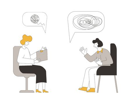 Online counseling. Psychologist having internet therapy session with stressed patient.  Couch listening sad man. Vecotor flat illustration. Illustration