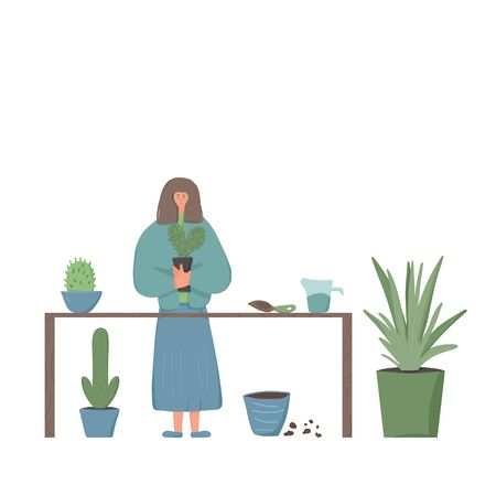 Plant lover. Smiling female person wearing in cozy clothes holding in hands catus. Plants growing hobby concept. Vector flat color illustration.