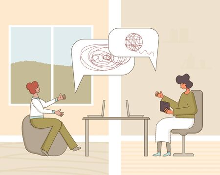 Psychological help online. Counseling concept. Psychologist having therapy session with stressed patient from home. Couch listening sad man. Vecotor flat illustration.