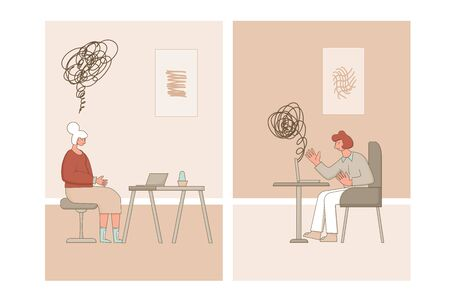 Online counseling. Psychologist having internet therapy session with stressed patient. Psychiatrist talking and listening sad client. Vecotor flat illustration.
