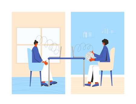Psychologist online. Couch session with video call from home. Mental health. Vector flat illustration. 向量圖像