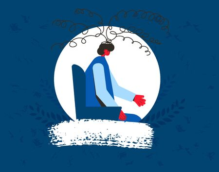 Young man in depression portrait. Male patient with psychological problems, Teenager needed professional support. Mental health. Vector flat illustration.