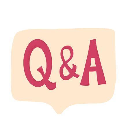 Q and A text emblem. Question & Answer. Vector           illustration.