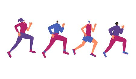 Group of running girls chcracters isolated on white background. Young women in fashionable sportwear jogging. Female runners. Sporty person Vector flat  color illustration.