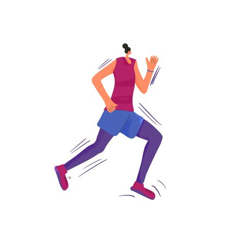 Running girl. Young woman in fashionable sportwear jogging isolated on white background. Female runner. Sporty person. Vector flat color illustration. 向量圖像