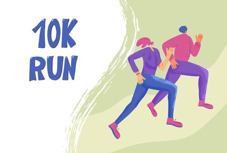 10k run banner template with running girls. Two young women in fashionable sportwear jogging. Female runners. Vector illustration.