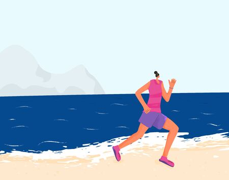Girl running through beach. Young woman in summer sportwear jogging outdoor. Female morning runner. Healthy lifestyle. Vector flat color character.