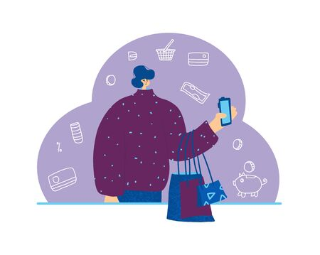 Male character with shopping bags. Sale concept. Portrait of man dressed in casual clothes standing and using his phone for find a good deals and buying a gifts. Vector illustration. 向量圖像