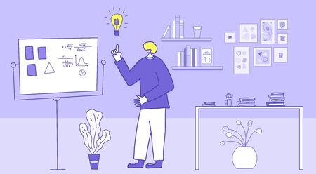 Scientist made a discovery in his lab. New generation scholar thinking about scientific solution near a board in his room.  Young  man or student have an idea. Vector  illustration.