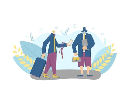 Bleisure concept. Work life balance. Digital nomads. Vector flat male person with phone, laptop, suitcase. Two coworkers standing together.