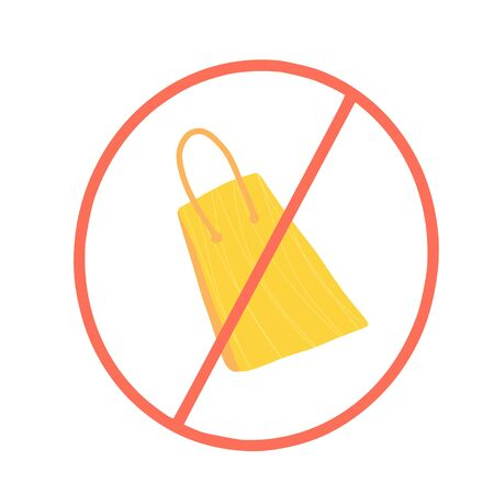 No plastic bags sign isolated on white background. Red stop symbol. Paper package prohibition sign.  Pollution problem concept. Vector illustration.