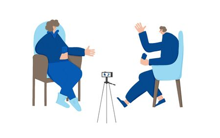 Two bloggers recording a video. Adult persons having an emotional conversation on camera. social media network process. Friends making content for their channel. Vector flat illustration.