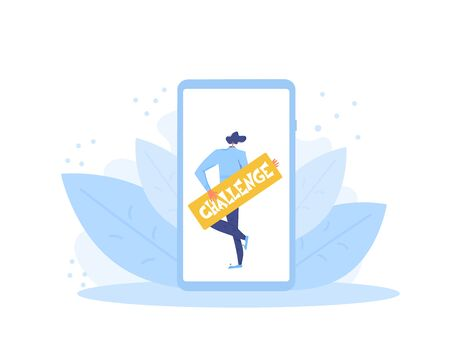 Challenge annonce. Social media flashmob or contest. Vector flat illustration.