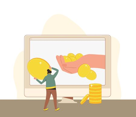 Universal basic income. Unconditional guarantee. Living stipend. Governmental public program for a periodic payment to people. Vector flat illustration.