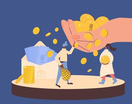 Universal basic income. Unconditional guarantee. Living stipend. Governmental public program for a periodic payment to people. Vector flat illustration. Vektoros illusztráció