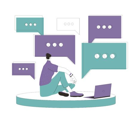 Woman sitting on the floor with laptop and talking with friends online and reading a news. Social distancing and self-isolation during coronavirus quarantine. Vector flat illustration.