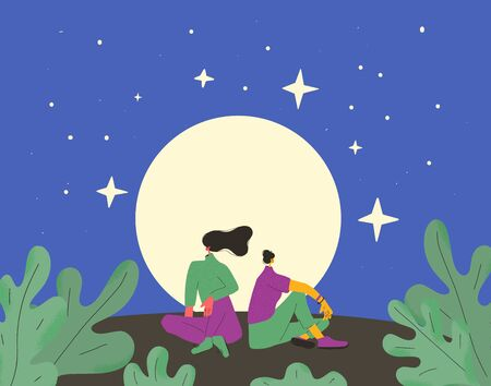 Relaxing women sitting under full moon together. Young female persons dressed in casual clothes looking at nature and have a rest. Romantic persons thinking about life at night. Vector illustration.