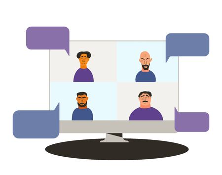 Video conference concept. Online call. Four colleagues Distance meeting for a job. Stream friends. Chatting from home. Vector flat color illustration.