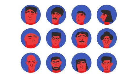Man avatar. Male character portrait. Icon with human face. Vector illustration.