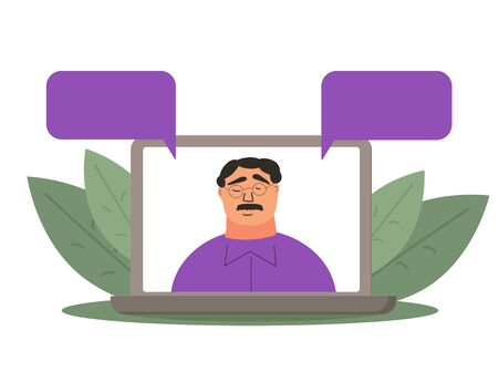 News. Male host talking about current situation. Online call or meeting for a remote job. Stream friends. Chatting from home. Vector flat illustration.