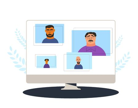 Video conference. Family distance talk. Group of coworkers taking part in business conference. Online call or meeting for a remote job. Stream friends. Chatting from home. Vector flat illustration.