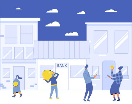 Banking concept. Saving money. Tiny people with huge coins going to bank. Vector flat illustration.