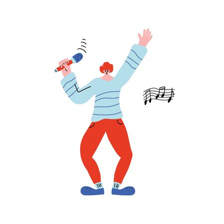 Happy guy singing isolated on white background. Singer standing with mike. Cute male character having fun with microphone. Vector illustartion. 向量圖像