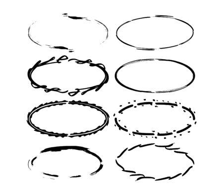 Set of grunge oval frames. Collection of black borders. Bundle of elements for collage. Vector illustration.