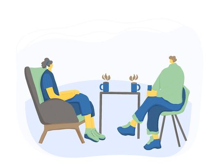 Friends meeting. Two charcters drinking tea together. Male and female persons sitting in the chair and talking about life. Man and woman having a conversation. Vector illustration.