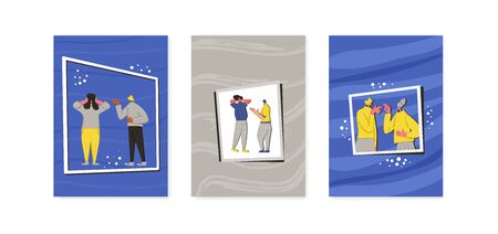 Conflict vertical banners. Pairs of people during argument. Quarrel concept collection. Bad relationship between friends, coworkers or family members. Psychological problems of relations. Vector set.