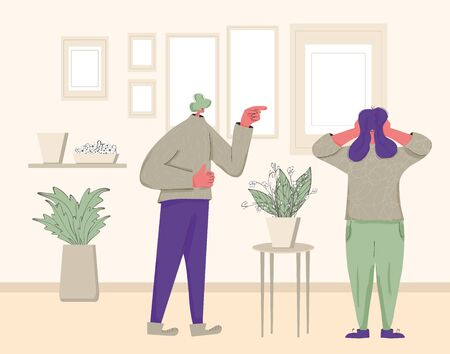 Family conflict. Pair during quarrel at home. Bad relationship between friends. Scared person putting his hands over his ears and man yelling and pointing finger. Vector flat color illustration.