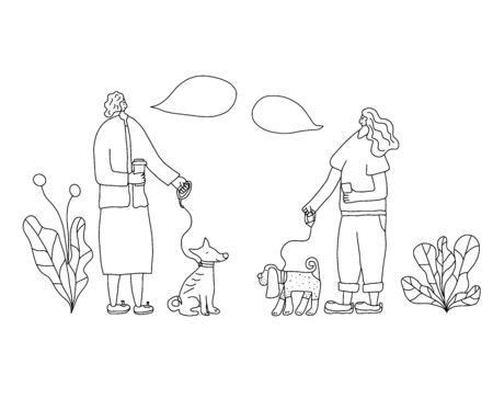 Dog walkers conversation. People walking with pets. Young persons keeps the dog on the leash. Vector illustration.
