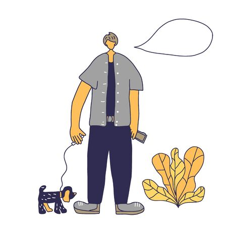 Cute boy walking with pet in the park. Handsome guy keeps the dog on the leash. Vector illustration. Ilustração